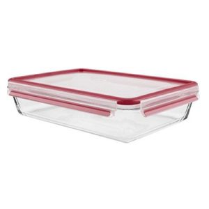 Tefal Master Seal Rectangle Glass Food Storage, Clear/Red, 3.0 Litre