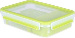 Tefal Master Seal to Go Brunch Box Rectangle Food Storage, Clear/Green, 1.2 Litre