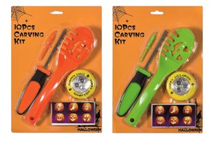 Premier 10pcs Pumpkin Carving Set with Light and 2 assorted Tools