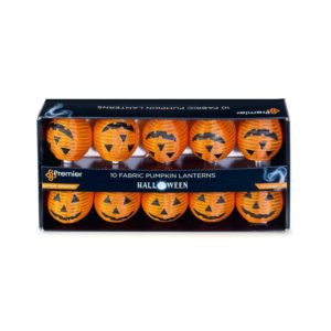 Premier 10 LED Battery Operated Pumpkin Lantern Lights Halloween Decorations
