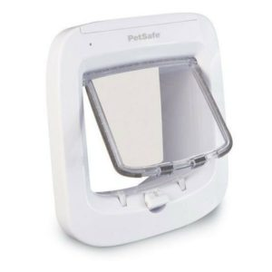 PetSafe Microchip Cat Flap, Battery Powered Pet Door, 4-Way Locking and Easy Installation, White