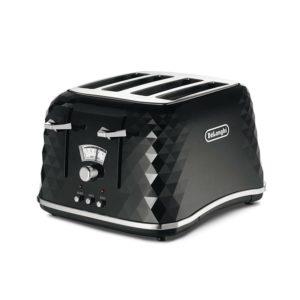 De'Longhi Brillante Faceted 4-Slice Toaster - Black