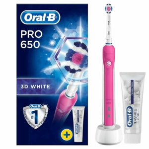 Oral-B Pro 650 Pink 3D White Electric Rechargeable Toothbrush + Toothpaste Set
