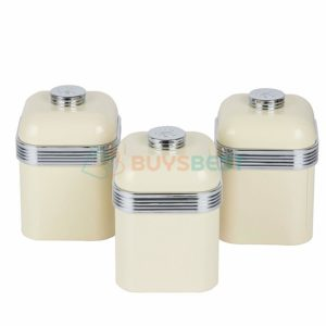 Swan Set of 3 Retro Storage Canisters 1 litre - Cream