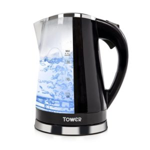 Tower LED Colour Changing Light Up Kettle 2200w 1.7 Litre In Black - T10012