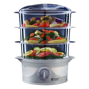 Russell Hobbs 21140 3 Tier Food Steamer, 9 Litre, 800 Watt