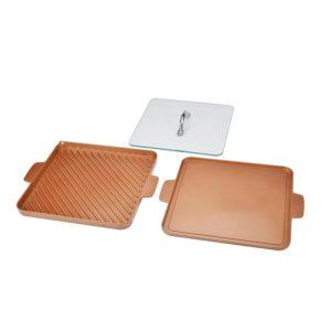 Copper Chef Non-Stick Stove-Top Grill and Griddle In Copper