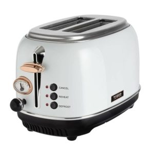 Tower Bottega 2 Slice Toaster, Stainless Steel, 810 W, White and Rose Gold