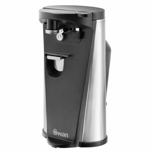 Swan 3 in 1 Electric Can Opener With Knife Sharpener & Bottle Opener, 60 W – Black