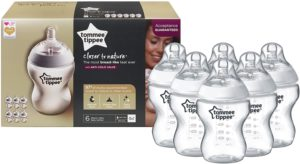Tommee Tippee Closer To Nature Clear Baby Bottles 260 ml Pack of 6