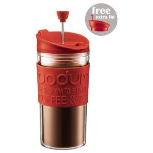 Bodum Travel Press Set Coffee Maker Mug With Extra Lid - Red