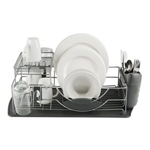 Tower Compact 2-Tier Dish Rack with Cutlery Holder - Grey