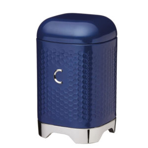 KitchenCraft Lovello Retro Coffee Canister With Geometric Textured Finish - Midnight Navy