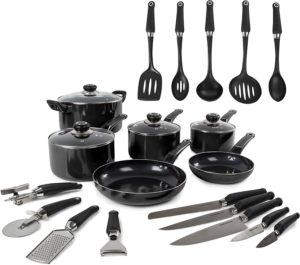Morphy Richards Equip 6 Piece Pan Set with 14 Piece Tool Set - Black