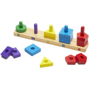 Melissa & Doug Stack & Sort Board With 15 Solid Wood Pieces - Multicolour