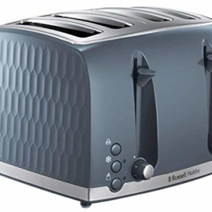 Russell Hobbs 4 Slice Toaster – Contemporary Honeycomb Design with Extra Wide Slots and High Lift Feature, Grey