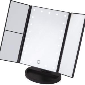 Carmen LED 3 Panel Mirror, 3 Panel Design, 21 LED Lights, Touch Screen, 180 Degree Rotating Base, Black