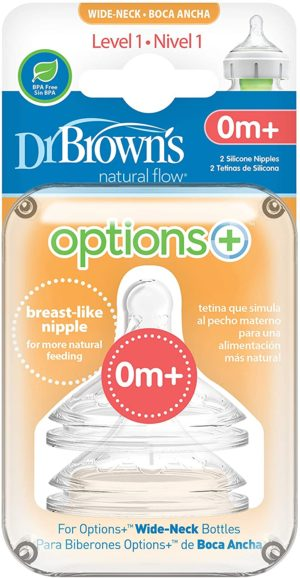 Dr Brown Options + Level 1 Teats 2pk
