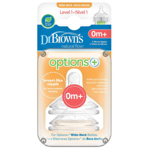 Dr Brown Options + Level 1 Teats 2pk
