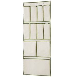 H & L Russel Ltd Over the Door Organiser, Taupe with Harvest Green Trim, 11 Pocket