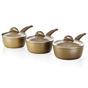 Tower Cerastone Forged Aluminium 3 Piece Saucepan Set Gold With Ceramic Coating