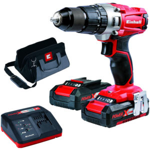 Einhell TE-CD 18/2 Li-i Kit 18V Cordless Impact Drill (2 x 1.5Ah Batteries) – Black And Red
