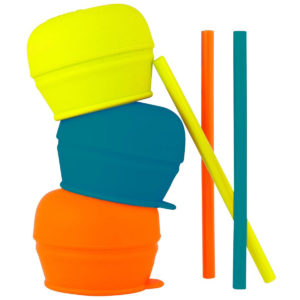Tomy Boon SNUG Stretchy Silicone Lids With Straws – Blue/Orange/Green