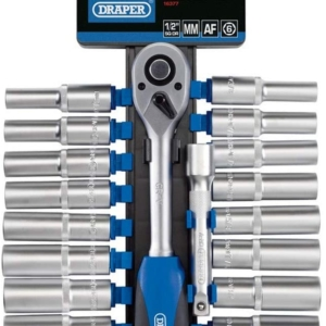 Draper 1/2 Inch Square Drive Combined MM/AF Deep Socket And Ratchet Set – 20 Piece