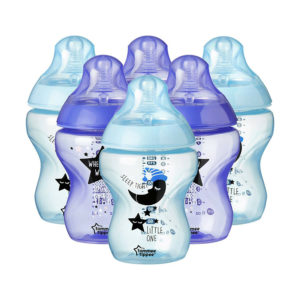 Tommee Tippee Closer to Nature Decorated Baby Bottles, 260 ml, 6 Count – Blue/Purple