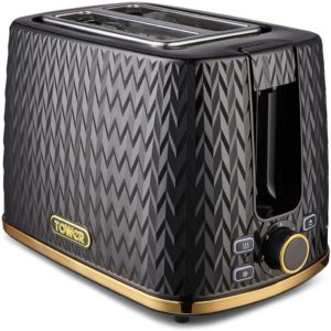 Tower Empire 2-Slice Toaster 900 W – Black With Brass Accents