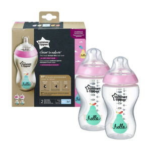 Tommee Tippee Hello Closer To Nature Decorated Baby Bottles 340ml Twin Pack – Pink