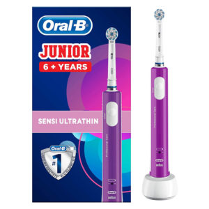 Oral B Junior Kids Sensi Ultrathin Electric Rechargeable Toothbrush For Children Aged 6 + Years – Purple