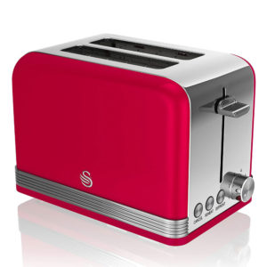 Swan 2 Slice Retro Toaster Stainless Steel 815 W – Red