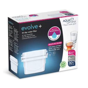 Aqua Optima Evolve Plus 30 Day Water Filter Cartridge 6 Pack – White