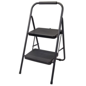 Silverline 2 Tread Step Ladder Alloy Steel Powder Coated 150kg Load Capacity – Black