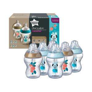 Tommee Tippee Closer To Nature Decorated Baby Bottles 6 X 260ml – Blue/Gold