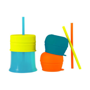 Tomy Boon SNUG Stretchy Silicone Toddler Cup with Lid and Straws – Blue/Orange/Green