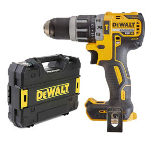 Dewalt 18V XR Li-Ion Brushless Compact Combi Hammer Drill With Power Tool Case - Bare Unit