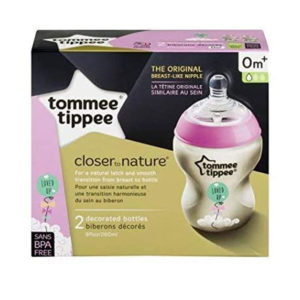 Tommee Tippee Closer To Nature Decorated Baby Feeding Bottles 2 x 260ml – Balloon/Pink