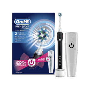 Oral B Pro 2 2500 Cross Action Electric Toothbrush Rechargeable 1 Handle 1 Toothbrush Head With Travel Case – Black