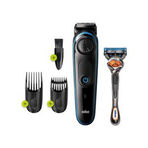 Braun Beard Trimmer And Hair Clipper With Gillette Fusion5 ProGlide Razor – Black/Blue