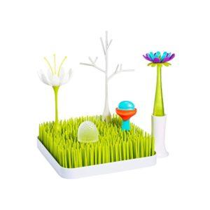 Tomy Boon BUNDLE Baby Bottle Dryer Rack Brush And Adaptors & Spoon Feeding Nursery Accessories Starter Pack – Green